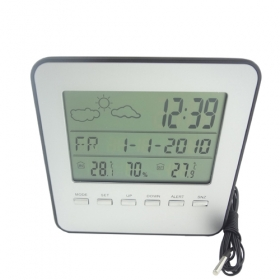 MISOL 1 UNIT of LCD Wired Weather Station indoor/outdoor Temperature Alarm Clock humidity