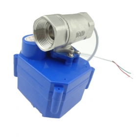 "MISOL motorized ball valve 12V, G3/4"" DN20,with manual switch,2 way,stainless steel"