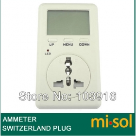 MISOL Switzerland Plug Ammeter Energy Power Watt Voltage Volt Meter Monitor Analyzer