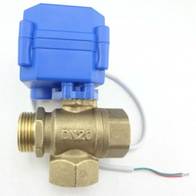 MISOL 3 way motorized ball valve DN20 (reduce port), T port, electric ball valve, motorized valve