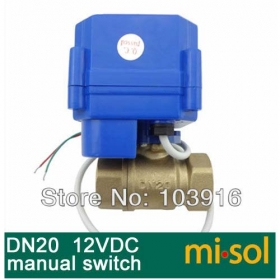 MISOL 10 UNITS OF motorized ball valve 12V, DN20 (reduce port) , with manual switch, 2 way, electrical valve,brass