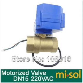 MISOL motorized ball valve, 220v,2 way, DN15,electrical valve,motorized valve