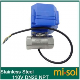 MISOL 110V motorized ball valve, DN20 (reduce port) (NPT), stainless steel, 2 way, electrical valve
