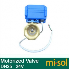 MISOL 1pcs motorized ball valve DN25 (reduce port), 2 way,24V electrical valve