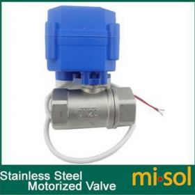 "MISOL Motorized Ball Valve G3/4"" DN20 (reduce port) 2 way 12VDC CR04,Stainless steel, electrical Valve"