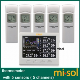 Wireless weather station with 5 sensors, 5 channels, color screen, data logger, connect to PC