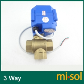 MISOL 3 way motorized ball valve DN15 (reduce port), electric ball valve( L Port), motorized valve