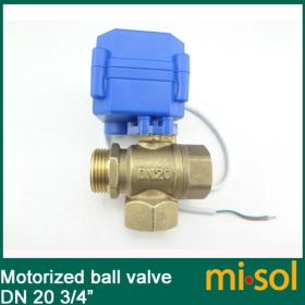 MISOL 3 way motorized ball valve DN20 (reduce port), L port, electric ball valve, motorized valve