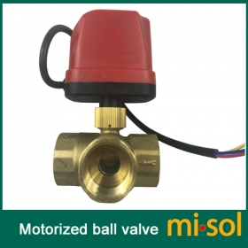 "MISOL motorized valve brass, G1"" DN25, 3 way, 220V, CR02, electrical valve, motorized ball valve"