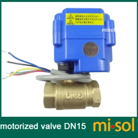 "MISOL motorized valve brass, G1/2"" DN15, 2 way, CR05, electrical valve, motorized ball valve"