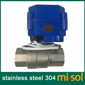 "MISOL 1pcs motorized ball valve 3/4"" NPT, DN20, 2 way 12VDC CR04, stainless steel electrical valve"
