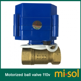 MISOL 1PCS of 110V motorized ball valve,DN20 (NPT) brass,2 way, electrical valve, motorized valve