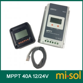 MISOL Tracer MPPT Solar regulator 40A with remote meter, 12/24v, Solar Charge Controller 40A, NEW