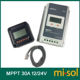 MISOL Tracer MPPT Solar regulator 30A, 12/24v, with remote meter, Solar Charge Controller 30A, NEW