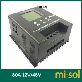 MISOL solar regulator 80A 48V solar charge controller PWM, for solar panel battery charging