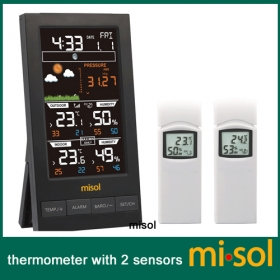 MISOL / Wireless weather station with 2 sensor, 3 channels, color screen